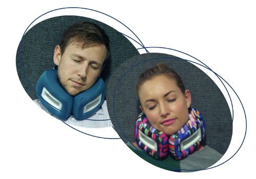 Good Flight Sleep - wearing travel pillows